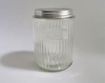Vintage Glass Tea Jar 1930's Hoosier Cabinet Tea  Storage Depression Era Ribbed Glass