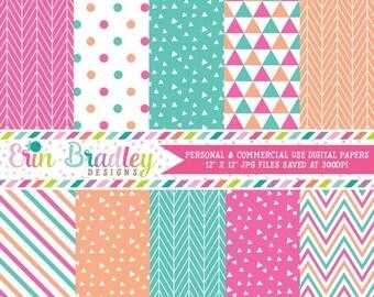 80% OFF SALE Digital Scrapbook Paper Pack Pink Peach & Aqua Blue Digital Papers Triangles Stripes Herrinbone Patterns