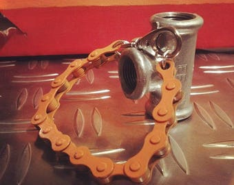 Orange bicycle chain bracelet and other colors
