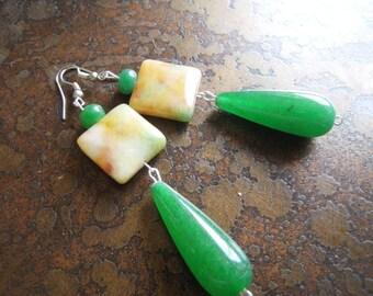 Morning Hike Glass Agate and Jade Beaded Dangle earrings