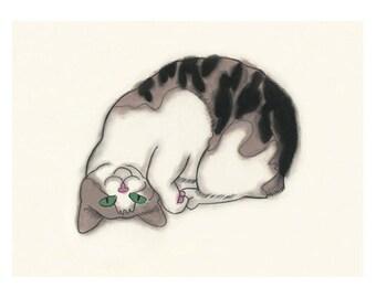 "Cat illustration tortoiseshell cat  Upside Down you turn me - 6"" X 4"" - 4 for 3 Sale"