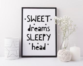 Sweet dreams sleepy head print - Baby nursery print - Children's bedroom print - Monochrome art for baby room - Monochrome nursery decor