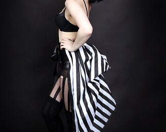 Black and White Striped carnival showgirl  Bustle Wrap MTCoffinz - All Adult Sizes