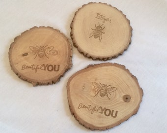 E001 Choice of Rustic Branch Sliced Coaster with Bee Designs