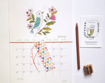 2018 Calendar - 2018 calendar with a planner - to do list - 2018 wall calendar - birds and flowers illustration - 2018 illustrated calendar