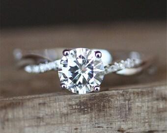 Forever Brilliant Moissanite Engagement Ring FB 7mm Round Cut Moissanite Ring Half Eternity Ring 14K White Gold Ring Anniversary Ring