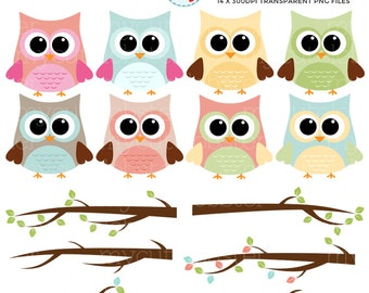 Owls and Branches Clipart Set - clip art set of owls, branches - personal use, small commercial use, instant download