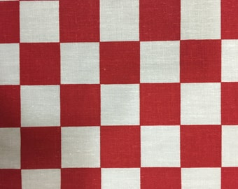 Red Checkered Print Poly Cotton Print Fabric - Sold By The Yard -  59""