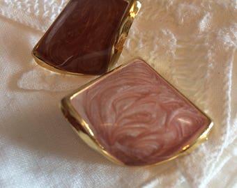 Goldtone and Mauve Swirled Enamel Post Earrings