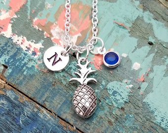 Pineapple Necklace, Personalized Pineapple Necklace, Pineapple Initial Necklace, Silver Pineapple Necklace, Initial Birthstone, BFF Gift