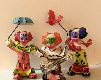 Vintage Paper Mache Figurines - 3 Jouyous Clowns - Colorful Clowns With Props; Guitar, Umbrella & Bird - Mid Century Collectible