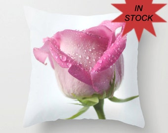 Photo Cushion Case, 18x18 Pink Rose Photo Pillow Cover, Floral Home Decor, White Feminine Interior Design Accent, Pink Valentine's Day Gift