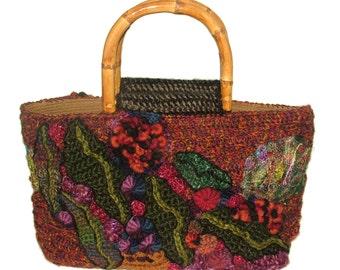 Crochet Handbag, Freeform Crochet Bag. Women's Crochet Handbag OOAK Freeform crochet Autumn Toned with gum leaf motifs Wearable Art