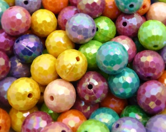 14mm Pearlized Faceted Disco Ball Beads - Bulk 60pcs - Candy Color Beads, Chunky Bubblegum Beads, Round Acrylic Beads - BR4-10