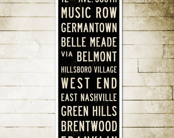 SMALL Nashville Subway Art, Nashville Art, Nashville Poster, Subway Sign Art, Bus Scroll, Industrial Decor, Typography Art, Word Art, 12x36.