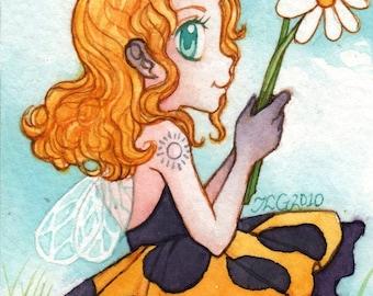 "Anime Inspired Ladybug Fairy Painting ""Min"" ARCHIVAL ART PRINT 5x7"