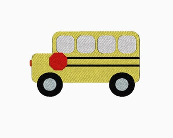 School bus filled machine embroidery design.  Multiple sizes.  Instant download.