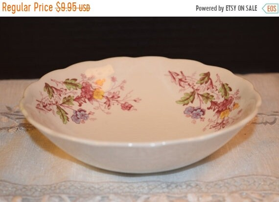 Delayed Shipping Ridgway English Garden Staffordshire Bowl Vintage Ironstone Berry Coupe Cereal Bowl Scalloped English Floral Bowl 4424 Repl