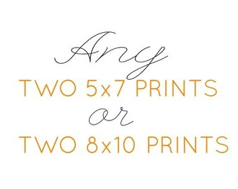 ON SALE Any two 5x7 prints or 8x10 prints