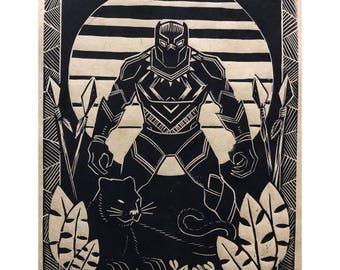 Black Panther Linoleum Block Print