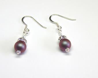 Dark Red Iridescent Pearl Crystal Earrings - Iridescent Red Green Pearl Earrings - Swarovski Elements - Pearl & Crystal Silver Earrings