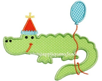 Birthday Alligator, Party Hat and Balloon Shirt Shirt or Bodysuit, Custom Machine Applique and Embroidery, 1st Birthday