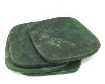 Canadian Nephrite Jade Coasters - Green Jade - Natural Jade - Jade Decor
