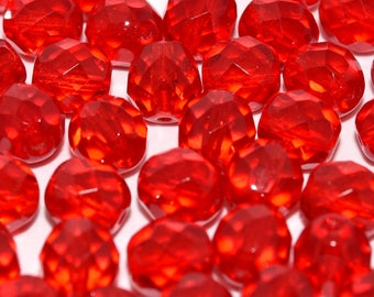 10 pcs, 20 pcs or 50 pcs Red Faceted Czech Fire Polished Glass Beads 8 mm. Red Faceted Czech Glass Beads 8 mm. Red beads 8 mm