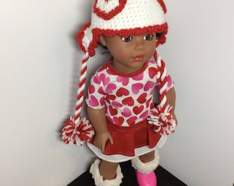 18 inch valentine doll dress, hat and boots