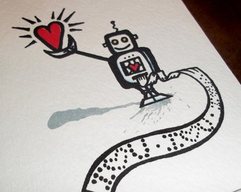 Valentines Robot Anniversary old school Geek Love  Card Romantic  5x7 Greeting Card Blank inside by Agorables the Undead