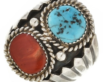 Navajo Turquoise Coral Big Boy Ring Sterling Silver Any Size