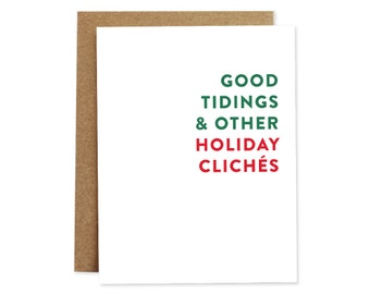 Funny Holiday Card, Funny Christmas Card, Unique Christmas Card, Unique Holiday Card, Holidays Card, Good Tidings, Simple Holiday Card