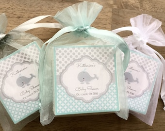 Baby Boy shower Favors, baby whale theme, set of 10 soap favors