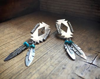 Vintage Native American sterling silver feather earrings with blue turquoise signed WV
