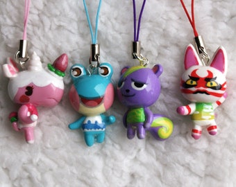 Animal Crossing New leaf villager, 3ds or phone strap charm, CHOOSE your favorite character, animal crossing keychain, ACNL gift
