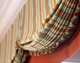 Relaxed  roman shade with optional trims