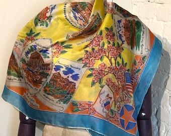Vintage Silk Holiday, Tourist, Souvenir Scarf - Washington DC, USA