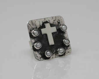 Silver Cross Ring, Large Cross Ring, Sterling Silver XL Cross Ring, Cross Oxidized Ring with Natural Pearl, Square XL Ring, Religious Ring