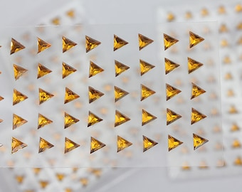 6mm Gold Topaz Stick On Triangle Rhinestones Gems For DIY Cards and Invitations  - 50 Pieces