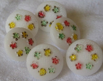 Set of 6 VINTAGE Small Painted Flower White Glass BUTTONS