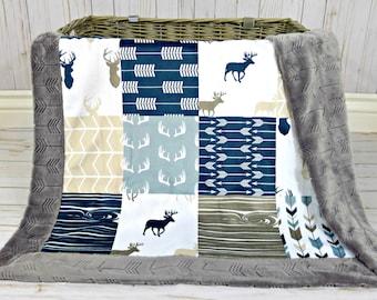 Woodland Minky Baby Blanket - Deer Blanket Faux Quilt - Baby Blanket - Deer Baby Blanket - Arrows Baby Blanket - Antlers Baby Blanket