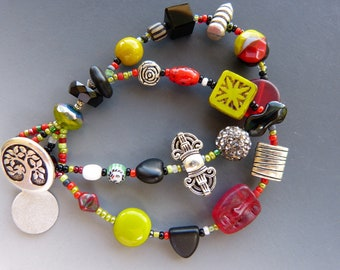 Double Row Bracelet in Chartreuse, Red and Black