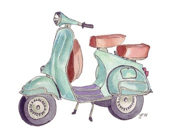 Vespa Watercolor Painting - Green Vintage Vespa Illustration Scooter Art Print, 8x10