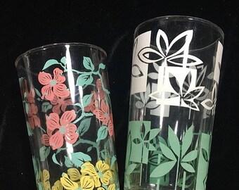 Vintage glasses, floral drinking glasses