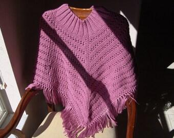 Knitted Poncho, Ladies - Plum Wine