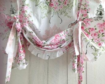 Nursery Valance, Floral Pink Valance, Pink Tie Up Valance, Ruffled Tie Up Valance, Rod Pocket Valance