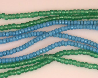 Blue Antique African Trade Venetian Pony Beads 3mm - 4mm STRAND