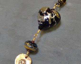 Glass Lampwork Pendant-Black-Gold Heart Pendant Artisan Lampwork Beads-Halloween-SRAJD-Dark Glamor-Bronze Handmade Skull Wire Wrapped Dangle