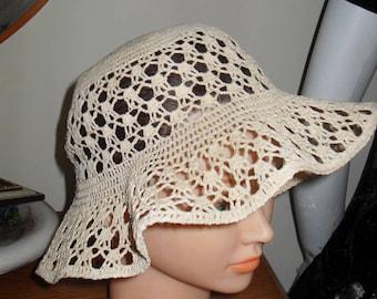 Crochet hat, cotton, size  56cm