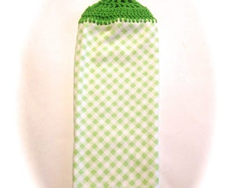 Green And White Checkered Hand Towel With Spring Green Crocheted Top